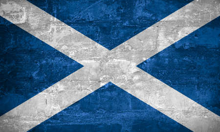 Flag of Scotland or Scotch banner on wall background, Caledonian