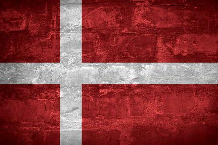 Flag of Denmark or Danish banner on wall background