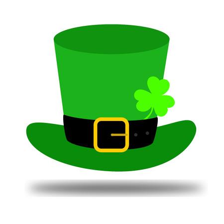 Vector modern flat design on Saint Patricks Day leprechauns green hat with clover leaf illustration Illustration