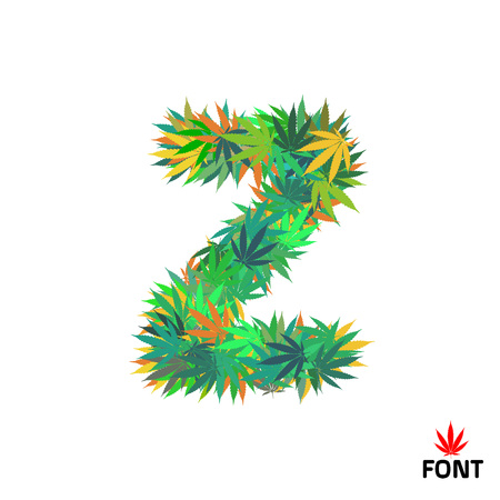 Cannabis alphabet letter Z from marijuana leaves vector illustration Illustration