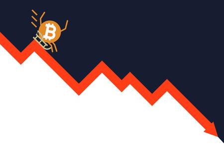 The falling of Bitcoin vector illustration Illustration