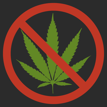 Forbidden sign marijuana leaf glyph icon. Stop silhouette symbol. No cannabis. Negative space. Vector isolated illustration Black background, red circle, green leaf.