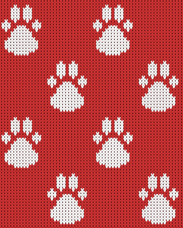 Seamless Knitted color squares red white pattern vector illustration