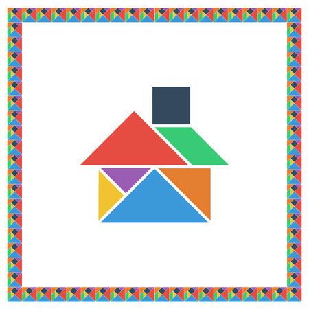 Tangram brain game HOUSE flat color vector illustration Illustration