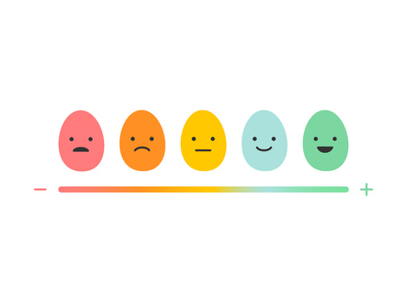 We want your egg back feedback emoji concept for Happy Easter day. Egg emoticons: angry, sad, indifferent, smiley, happy variations with scale of happiness vector illustration Ilustracja