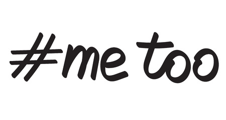 Me too hand drawn lettering. Hashtag against sexual harassment vector illustration
