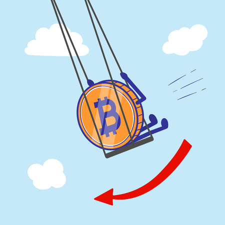 Crypto currency Bitcoin on swing decrease and fall in the air vector illustration Ilustrace