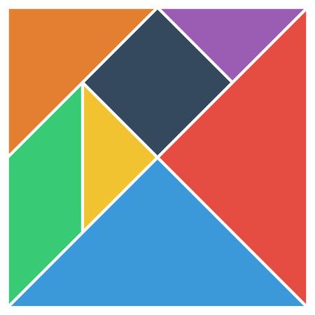 Tangram square brain game base pieces flat UI colors vector illustration