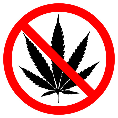 NO marijuana symbolic sign leaf and forbidden circle vector illustration