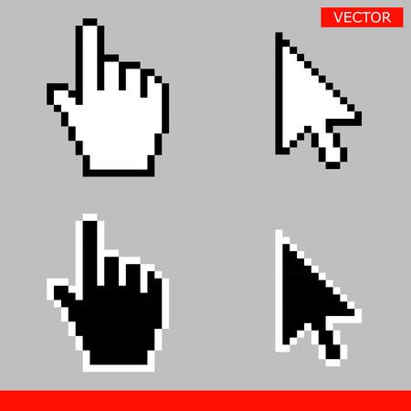 Black and white arrow pixel and pixel mouse hand cursors icon vector illustration set Ilustração