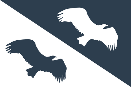 A bird in the sky silhouette vector illustration