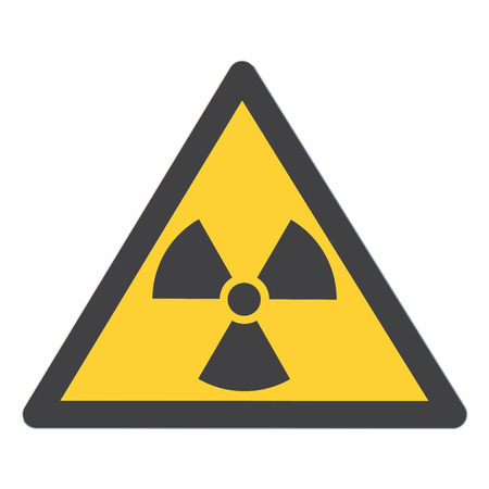 Radioactive contamination in the triangle sign vector illustration. Bllack triangle and sign, yellow background.