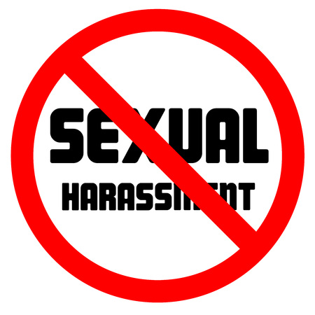 Stop sexual harassment lettering and prohibited sign