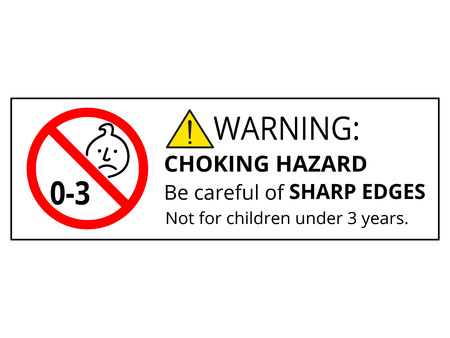 Not suitable for children under 3 years old. Warning triangle and exclamination mark, sharp edges. Stock Illustratie