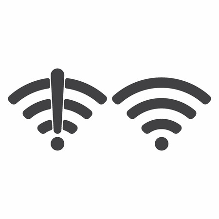 Wireless network icon sign flat design vector illustration set. Wifi and no wifi internet signal symbols set in black color isolated on white background
