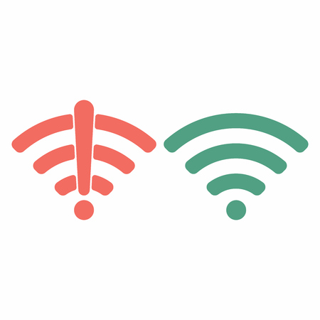 Wireless wifi icon sign flat design vector illustration set. Wifi and no wifi internet signal symbols set in red green colors isolated on white background Illustration
