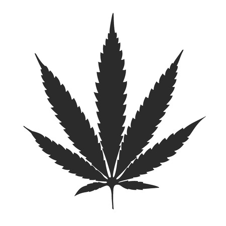 Cannabis leaf black on white background vector illustration