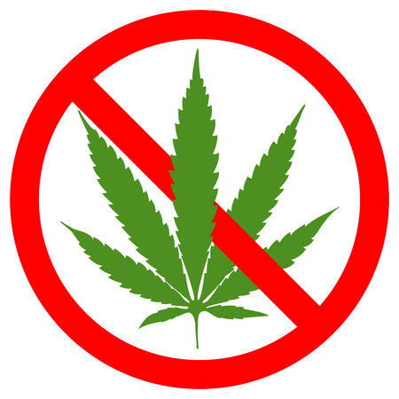 Forbidden sign marijuana leaf glyph icon. Stop silhouette symbol. No cannabis. Negative space. Vector isolated illustration red circle green leaf white background