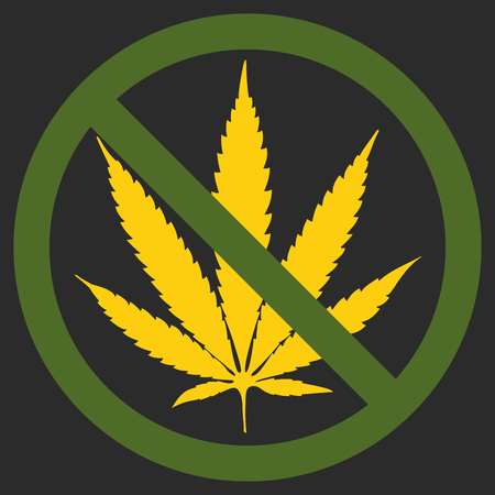 Forbidden sign marijuana leaf glyph icon. Stop silhouette symbol. No cannabis. Negative space.
