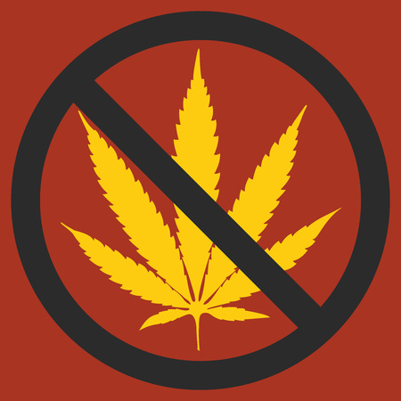 NO marijuana symbolic sign leaf and forbidden circle vector illustration