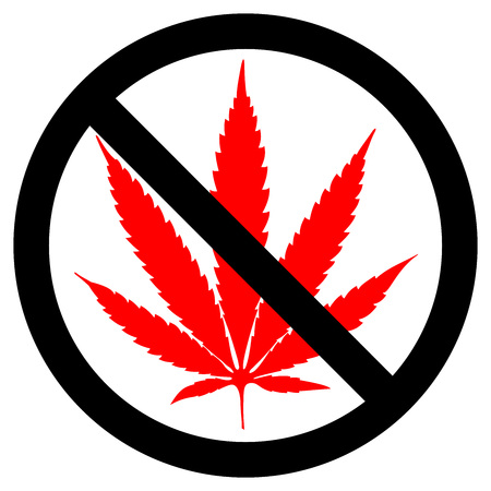Forbidden sign marijuana leaf glyph icon. Stop silhouette symbol. No cannabis. Negative space. Vector isolated illustration. Illustration