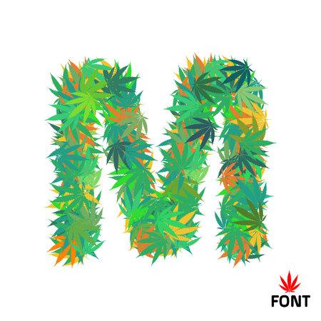 Cannabis M letter from marijuana leaves vector illustration Illustration