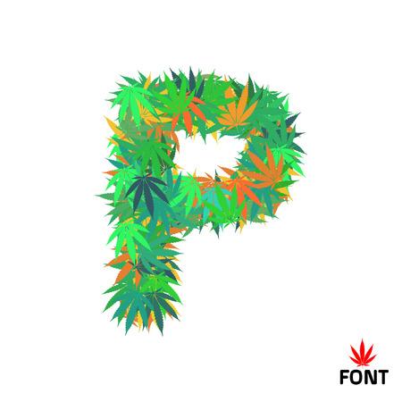 Cannabis P letter from marijuana leaves vector illustration Illustration