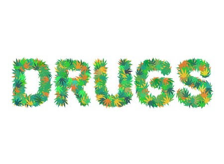 DRUGS word isolated on the white background made from cannabis leaves Ilustração