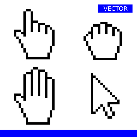 Pointer, drag hand, palm hand and arrow cursors pixel set