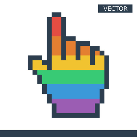 Pixel mouse hand cursor icon gay pride color vector illustration Vectores