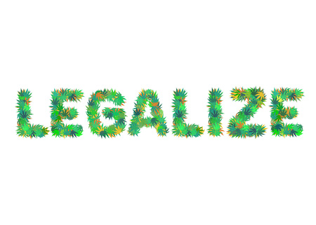 LEGALIZE word isolated on the white background made of cannabis leaves vector illustration