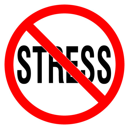 NO STRESS sign in the red circle