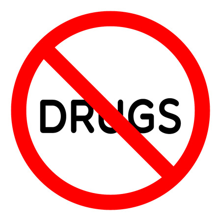 Forbidden sign drugs glyph icon Stop silhouette symbol.
