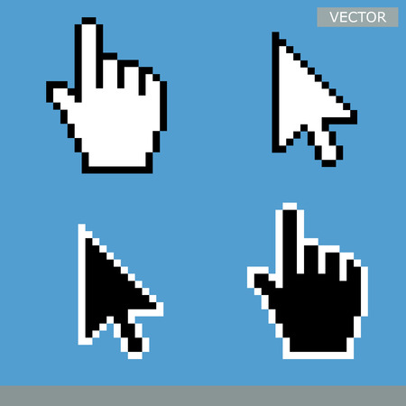 White and black arrow cursors and hand cursors icons isolated on light blue background vector illustration set