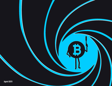 Crypto currency Bitcoin in the circle of rifled barrel vector illustration. Secret agent, detective, spy Bit Coiny character with a gun