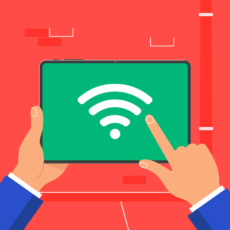 Hands holding black tablet device isolated on red background. Pad tablet in human's hands with wifi signal icon sign symbol on the screen flat design vector illustration. Index finger touch screen.