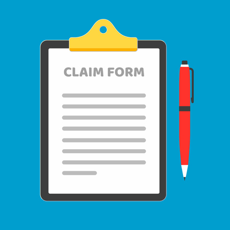 Clipboard with claim form on it, paper sheets, red pen isolated on light blue background. Concept of fill out or online survey Illustration