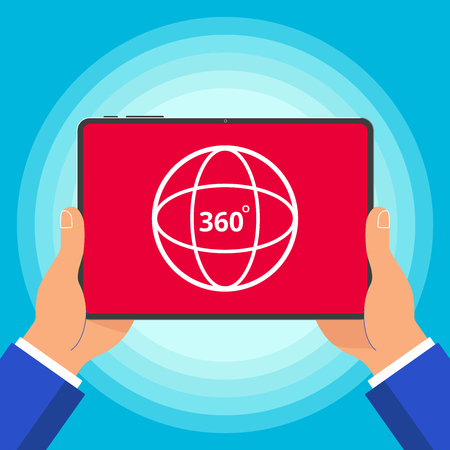 Hands holding tablet device with 360 degrees angle icon sign on the screen. Symbol of 360 degrees VR videos, photo and games. Vectores