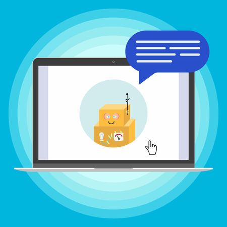 Modern device - laptop, notebook, netbook pc flat design with chat computer speak in the bubble popped on screen icon vector illustration. Technology concept of online chatting isolated on blue background Ilustração