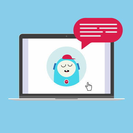 Modern device - laptop, notebook, netbook pc flat design with chat computer speak in the bubble popped on screen icon vector illustration. Technology concept of online chatting isolated on blue background Illustration