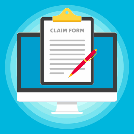 Monitor or All in one pc flat design with clipboard and claim form popped up the screen icon signs vector illustration. Technology concept of online survey isolated on blue background. 向量圖像