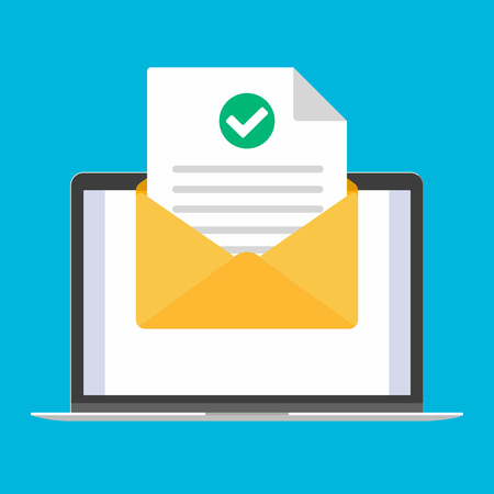 Ordinateur portable, ordinateur portable ou appareil netbook avec enveloppe ouverte document feuille de papier coche coche et texte icône signe illustration vectorielle. Symbole de livraison de courrier électronique, vérification.