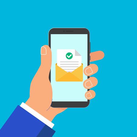 Main tenir le téléphone avec enveloppe document feuille de papier coche et texte icône signe illustration vectorielle. Symbole de livraison de courrier électronique, vérification. Vecteurs