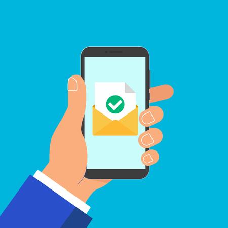 손을 잡고 봉투 문서 종이 시트 확인 표시 텍스트 아이콘 기호 벡터 일러스트와 함께 전화. 이메일 배달, 확인의 상징.