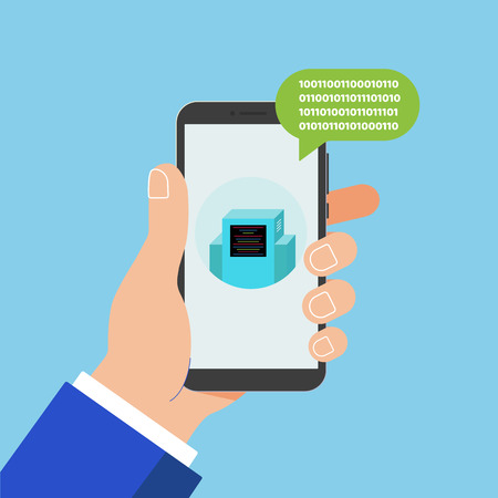 Hand holding black mobile phone isolated on blue background. Smartphone in human's hand with chat bot talk on the screen and popped up chat chat bubble flat design vector illustration. Chatting concept.