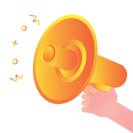 Hand hold megaphone loud speaker. Announcement communication through electronic device icon sign gradient flat style vector illustration isolated on white background. Concept of leadership speach.