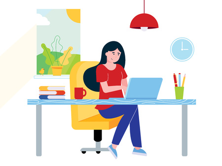 Freelance female girl businesswoman relaxing working on laptop at the home office. Woman, notebook, desk, books, pen, pencil, lamp, cup of coffee, window, clock