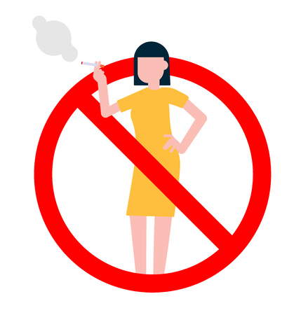 No smoking sign with standing woman. Forbidden sign icon isolated on white background vector illustration. Woman in dress smokes cigarette, red prohobition circle isolated on white background.