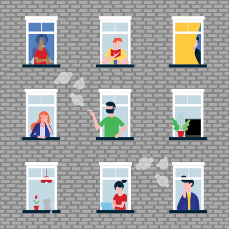 Various people in their windows. Neighbors as they live in apartments and windows