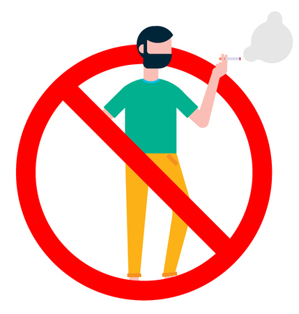 No smoking sign with standing man. Forbidden sign icon isolated on white background vector illustration. Man in smokes cigarette, red background.